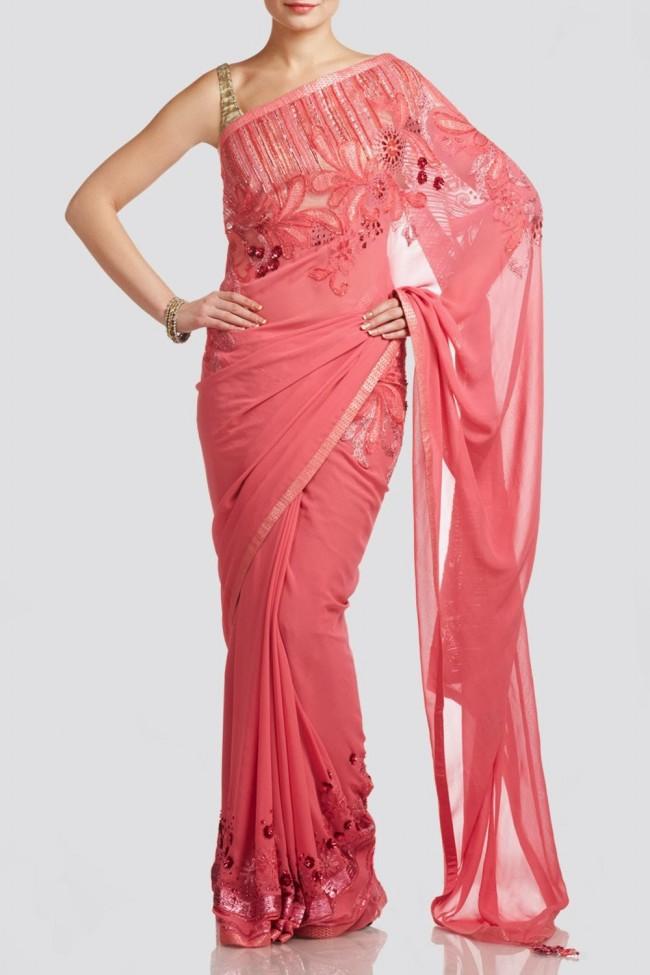 Beautiful-Girls-Wear-Red-Pink-Saree-New-Fashion-Saris-by-Designer-Satya-Paul's-Dress-7